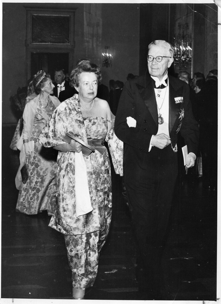 Maria Goeppert-Mayer on her way to receive the Nobel Peace Prize for her research. This is a pioneering moment for the inclusion of women in STEM.