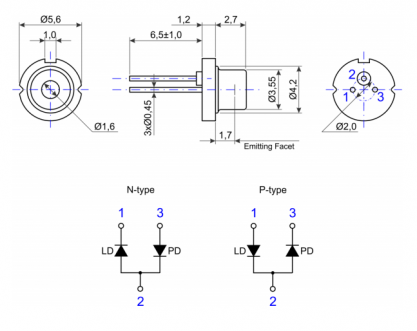 Laser Diode FJLD-100S-785-TO56-70TX