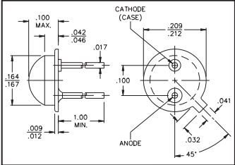 ODD-1 Red Enhanced Photodiode In TO-18 Pkg